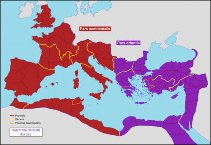800px partition of the roman empire in 395 ad